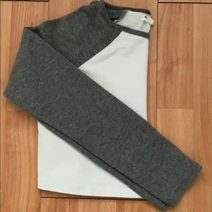 Ardene Crop Top Long Sleeve Grey And White SizeXS